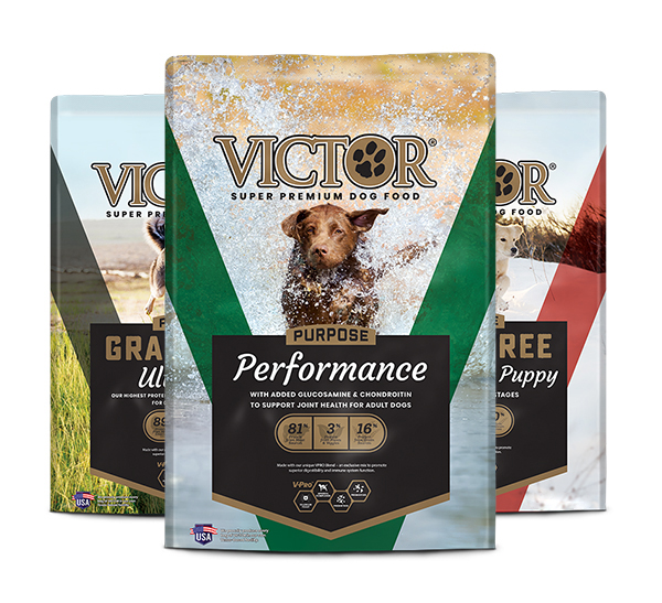 Group of three Victor Grain Free dog food bags