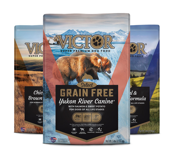 Group of three Victor Select Protein dog food bags