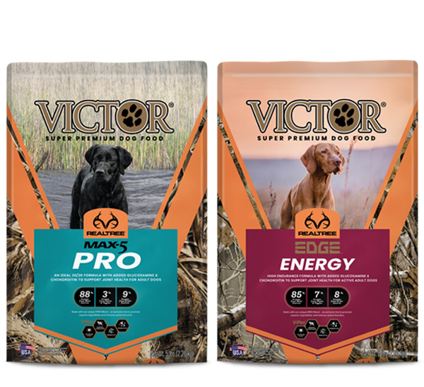 Group of three Victor Realtree dog food bags